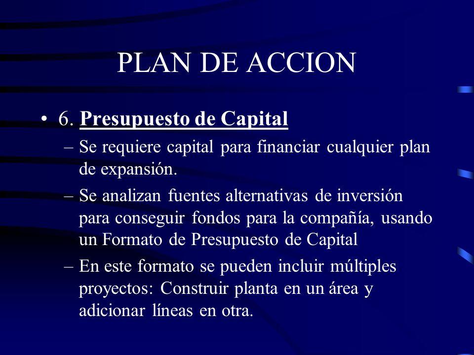 PLAN DE ACCION 6. Presupuesto de Capital