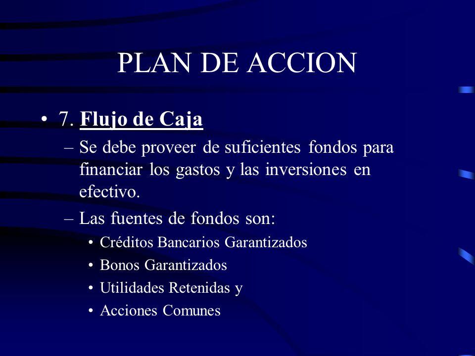 PLAN DE ACCION 7. Flujo de Caja