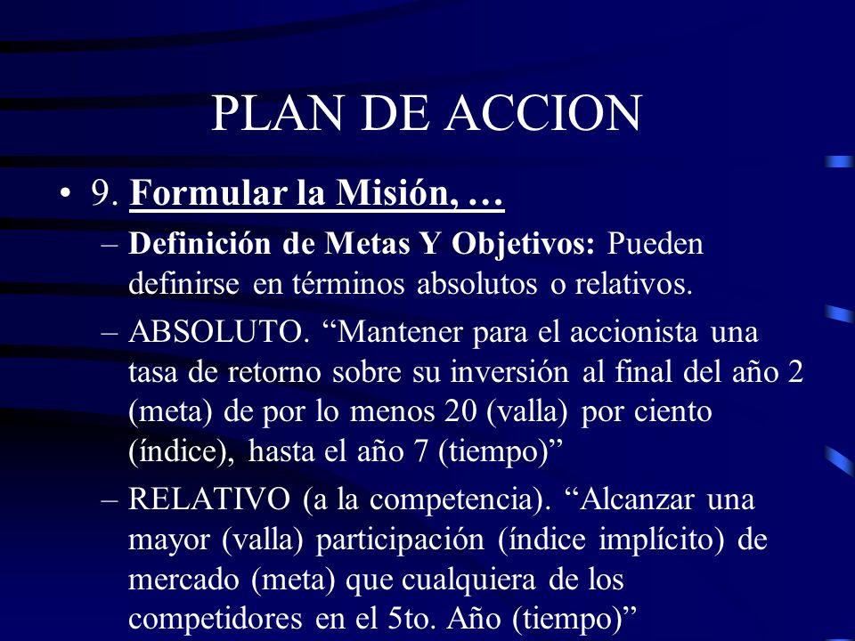 PLAN DE ACCION 9. Formular la Misión, …