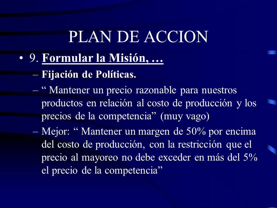 PLAN DE ACCION 9. Formular la Misión, … Fijación de Políticas.