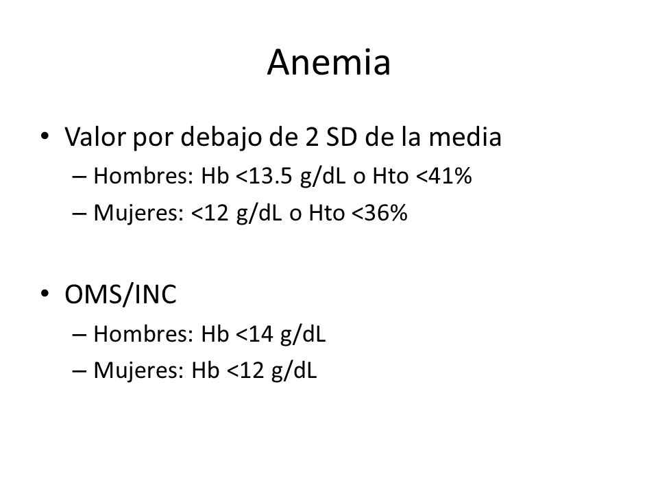 Anemia Valor por debajo de 2 SD de la media OMS/INC