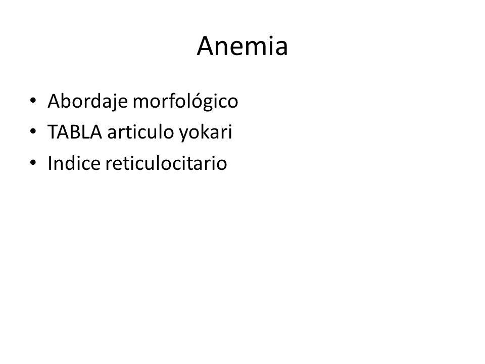 Anemia Abordaje morfológico TABLA articulo yokari