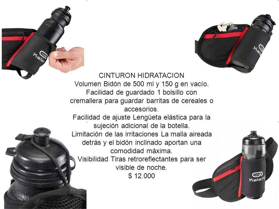 CINTURON HIDRATACION Volumen Bidón de 500 ml y 150 g en vacío