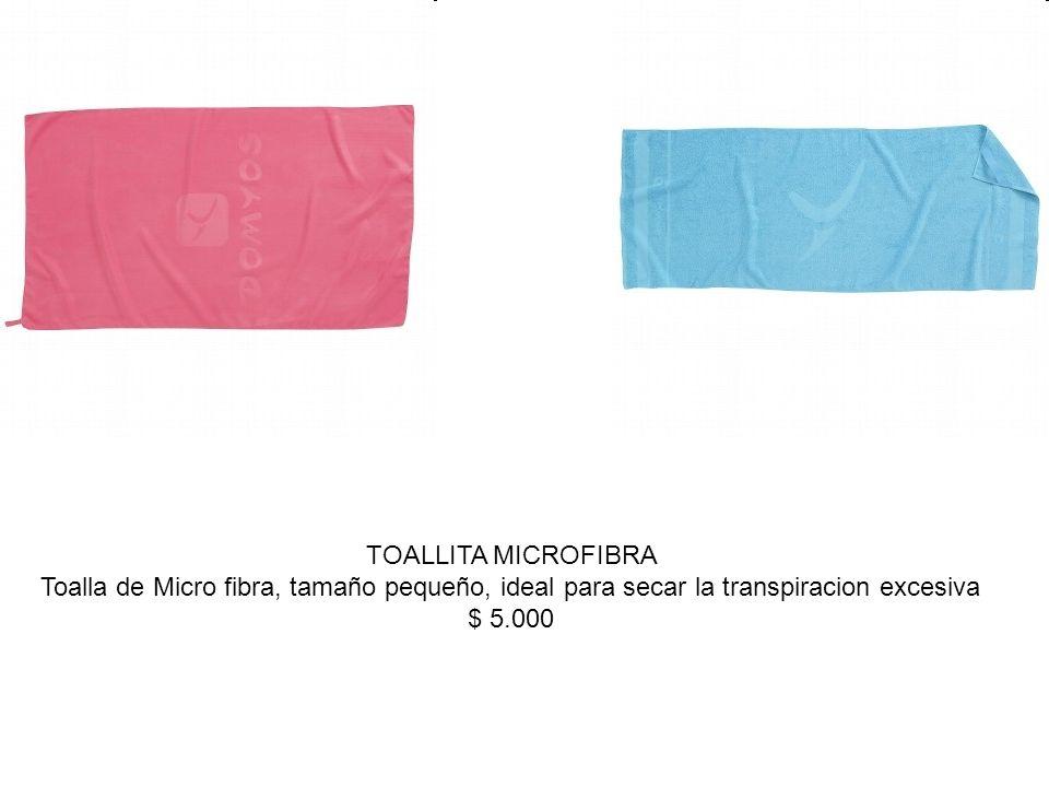 TOALLITA MICROFIBRA Toalla de Micro fibra, tamaño pequeño, ideal para secar la transpiracion excesiva $ 5.000