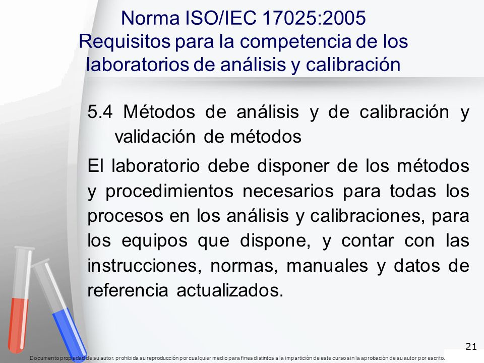 Norma ISO/IEC 17025:2005 Requisitos para la competencia de los laboratorios de análisis y calibración