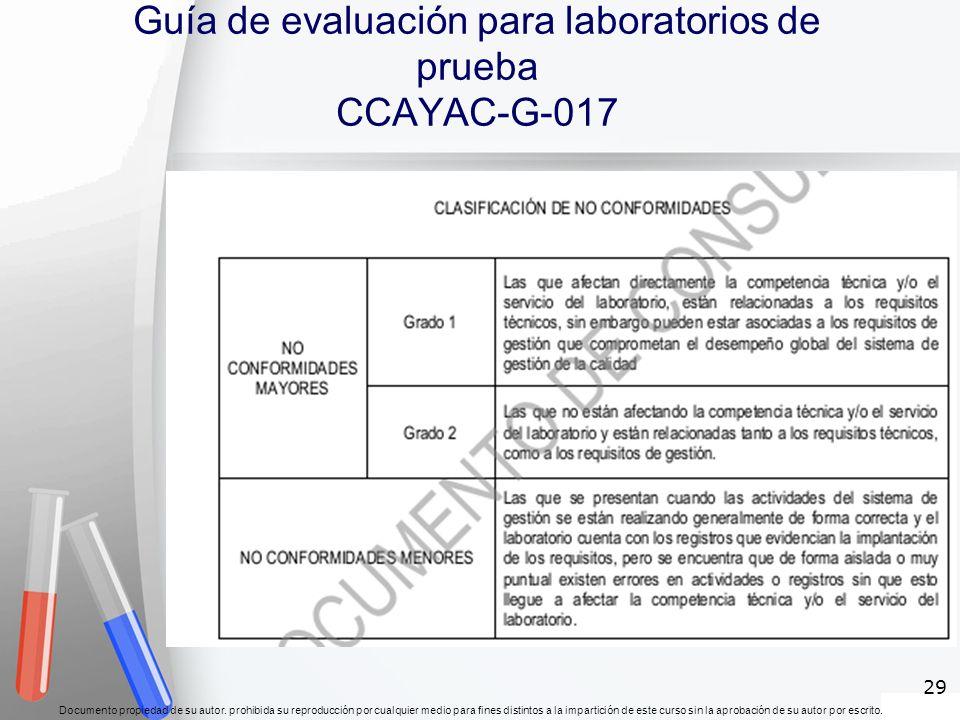 Guía de evaluación para laboratorios de prueba CCAYAC-G-017