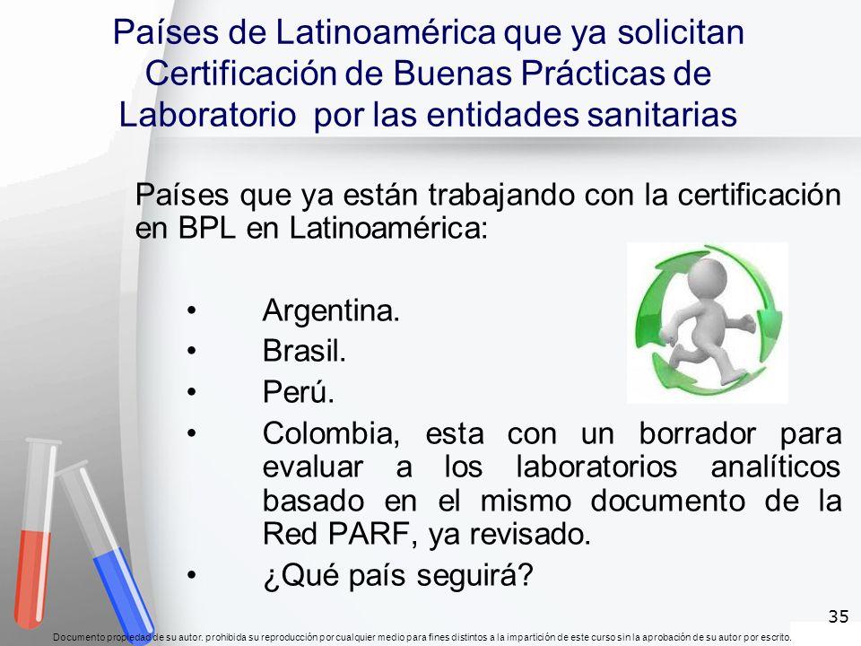 Países de Latinoamérica que ya solicitan Certificación de Buenas Prácticas de Laboratorio por las entidades sanitarias