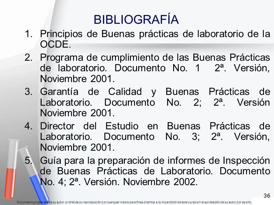 BIBLIOGRAFÍA Principios de Buenas prácticas de laboratorio de la OCDE.