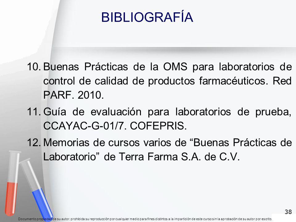 BIBLIOGRAFÍABuenas Prácticas de la OMS para laboratorios de control de calidad de productos farmacéuticos. Red PARF. 2010.