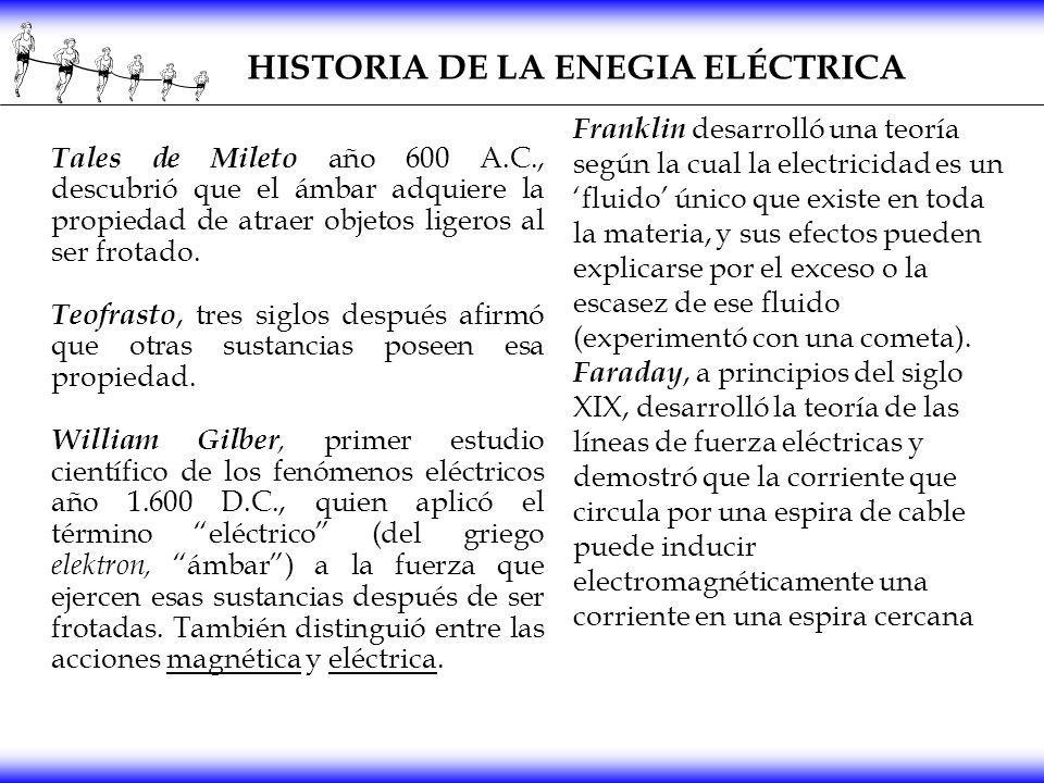 HISTORIA DE LA ENEGIA ELÉCTRICA