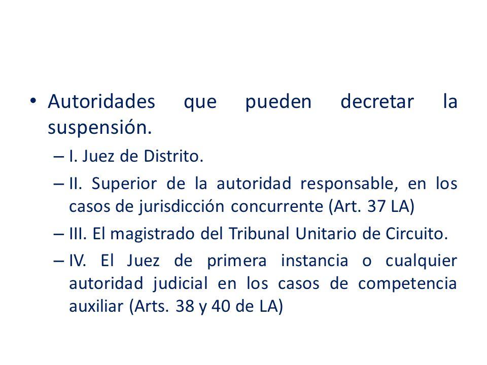 Autoridades que pueden decretar la suspensión.