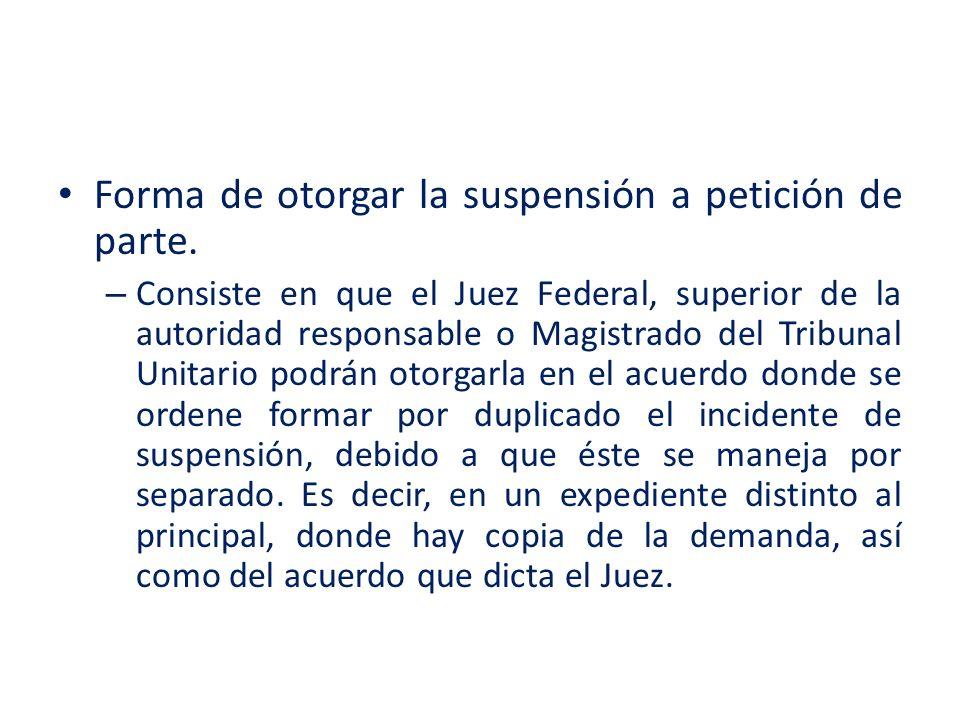 Forma de otorgar la suspensión a petición de parte.