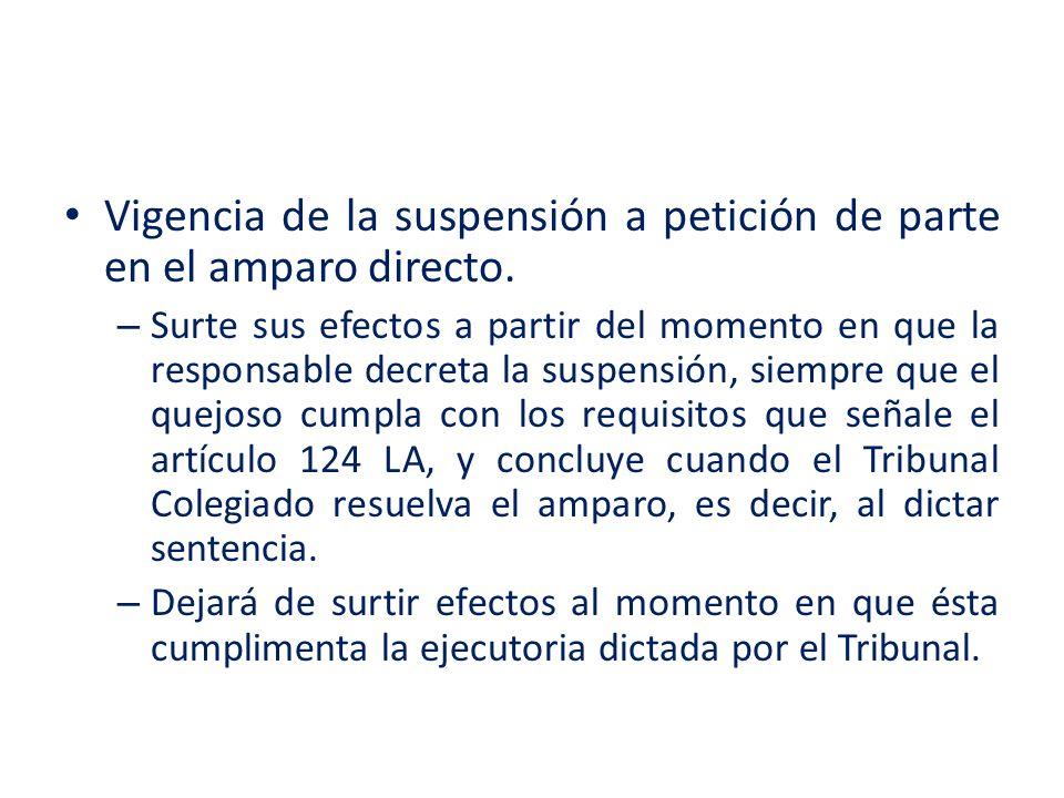 Vigencia de la suspensión a petición de parte en el amparo directo.