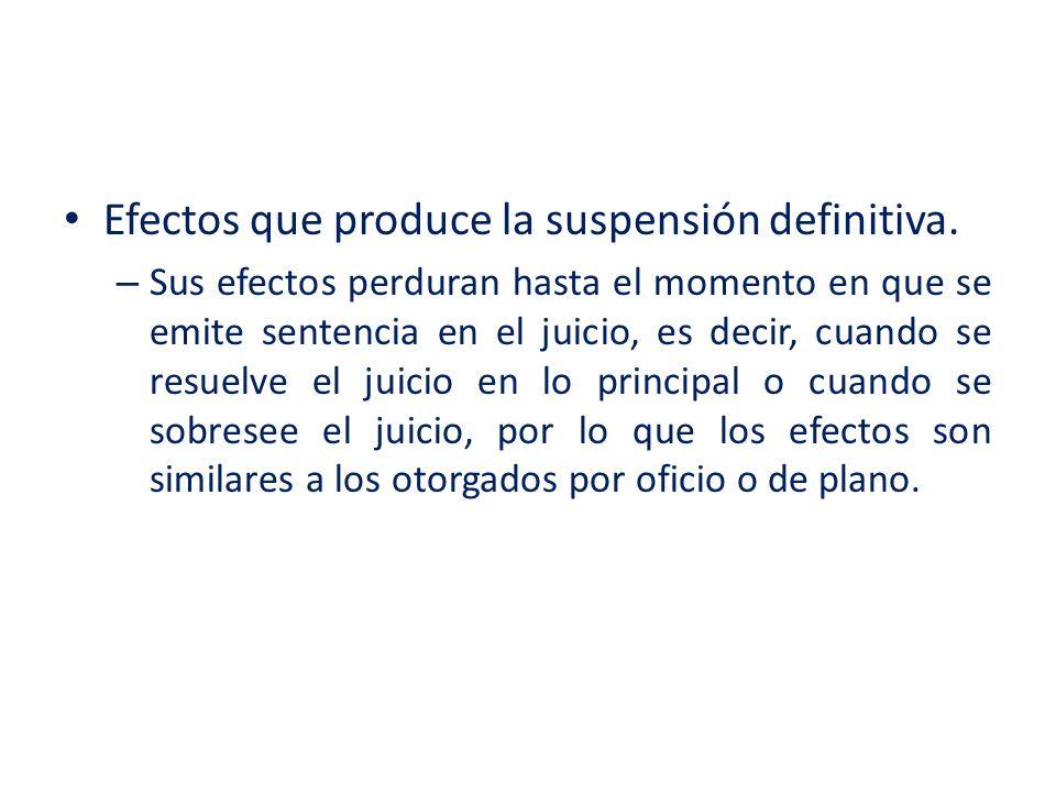 Efectos que produce la suspensión definitiva.