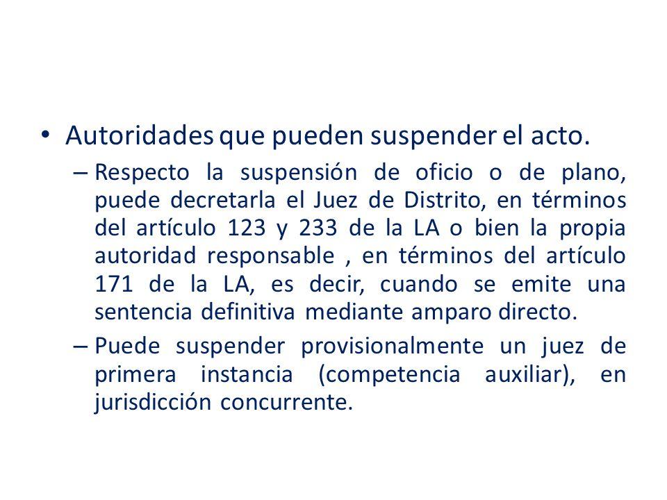 Autoridades que pueden suspender el acto.
