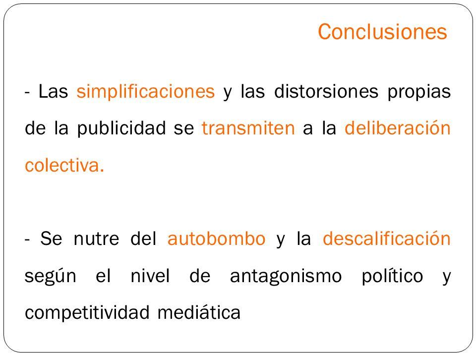 Conclusiones - Las simplificaciones y las distorsiones propias de la publicidad se transmiten a la deliberación colectiva.