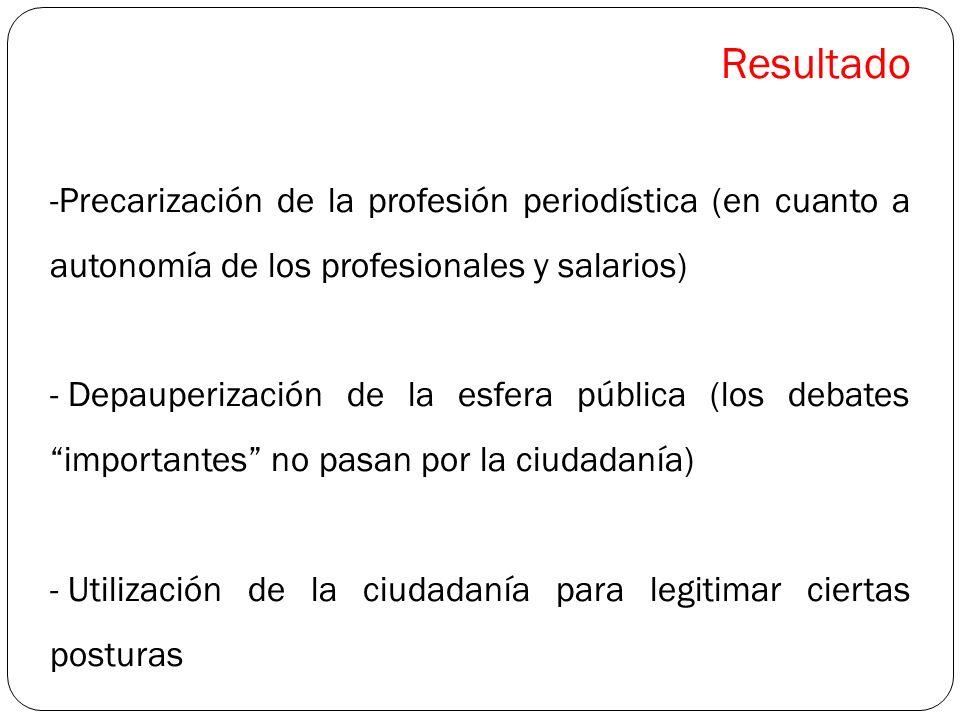 Resultado Precarización de la profesión periodística (en cuanto a autonomía de los profesionales y salarios)