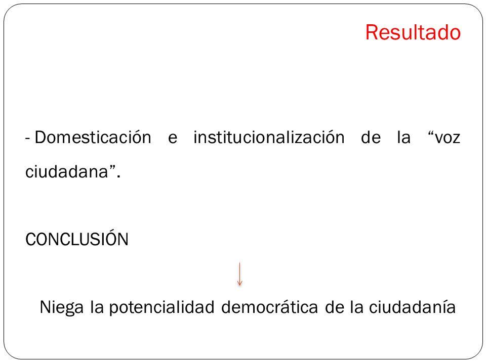Resultado Domesticación e institucionalización de la voz ciudadana .