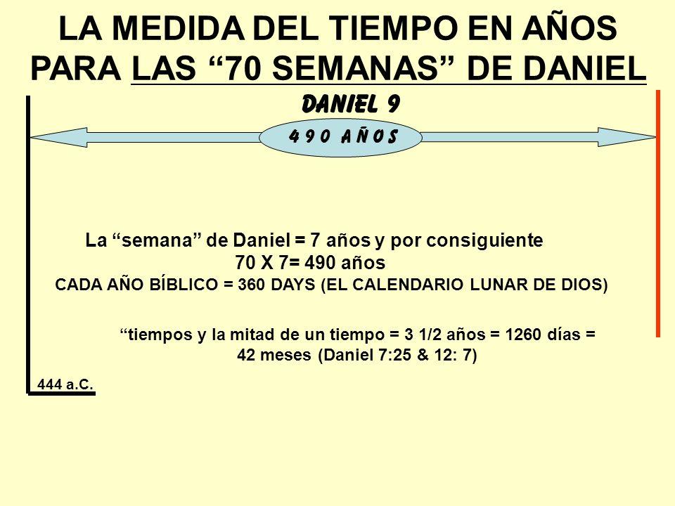 LA MEDIDA DEL TIEMPO EN AÑOS PARA LAS 70 SEMANAS DE DANIEL