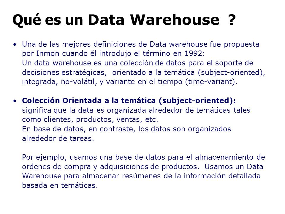 Qué es un Data Warehouse