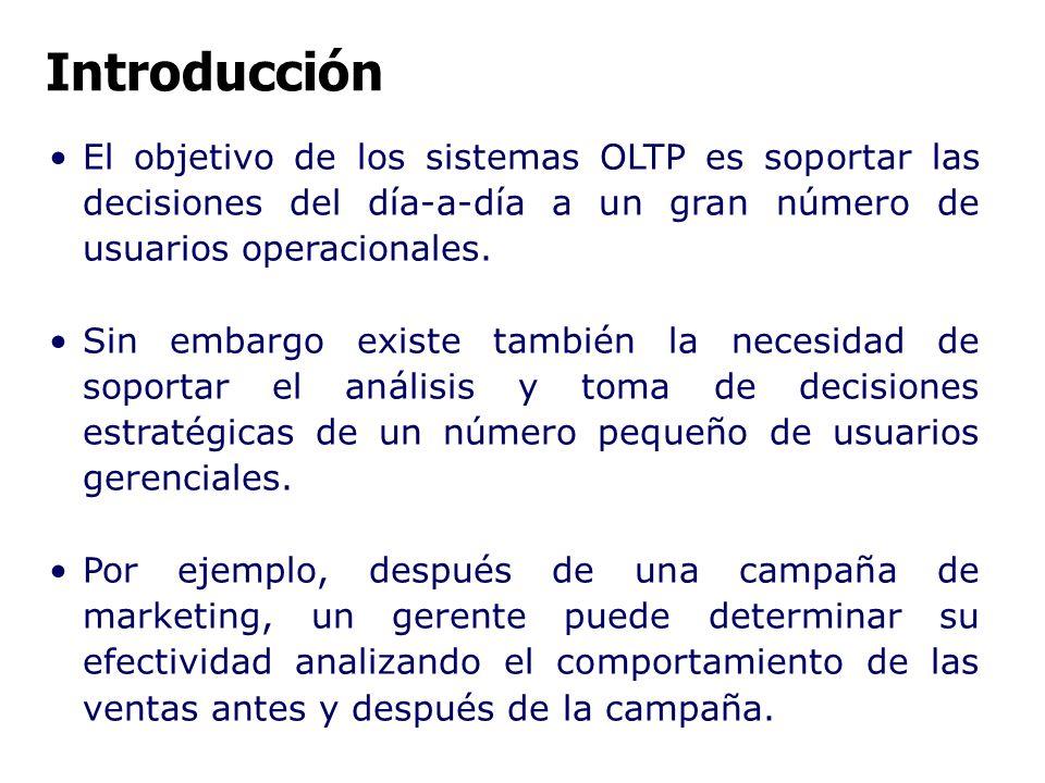 Introducción El objetivo de los sistemas OLTP es soportar las decisiones del día-a-día a un gran número de usuarios operacionales.