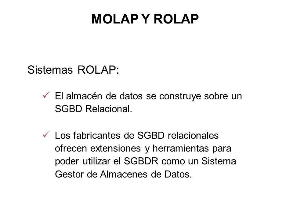 MOLAP Y ROLAP Sistemas ROLAP: