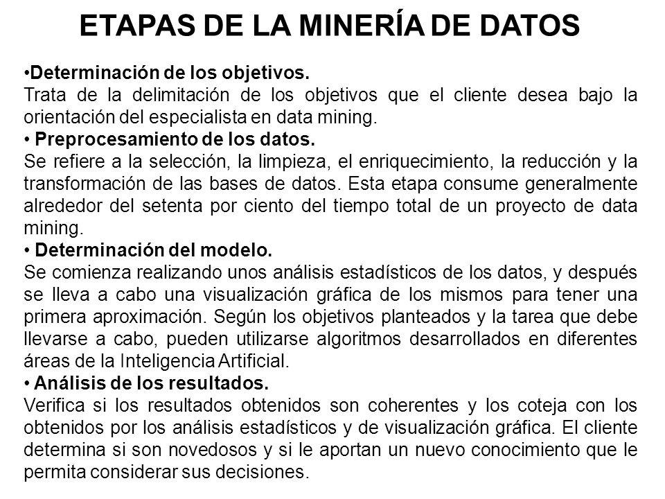 ETAPAS DE LA MINERÍA DE DATOS