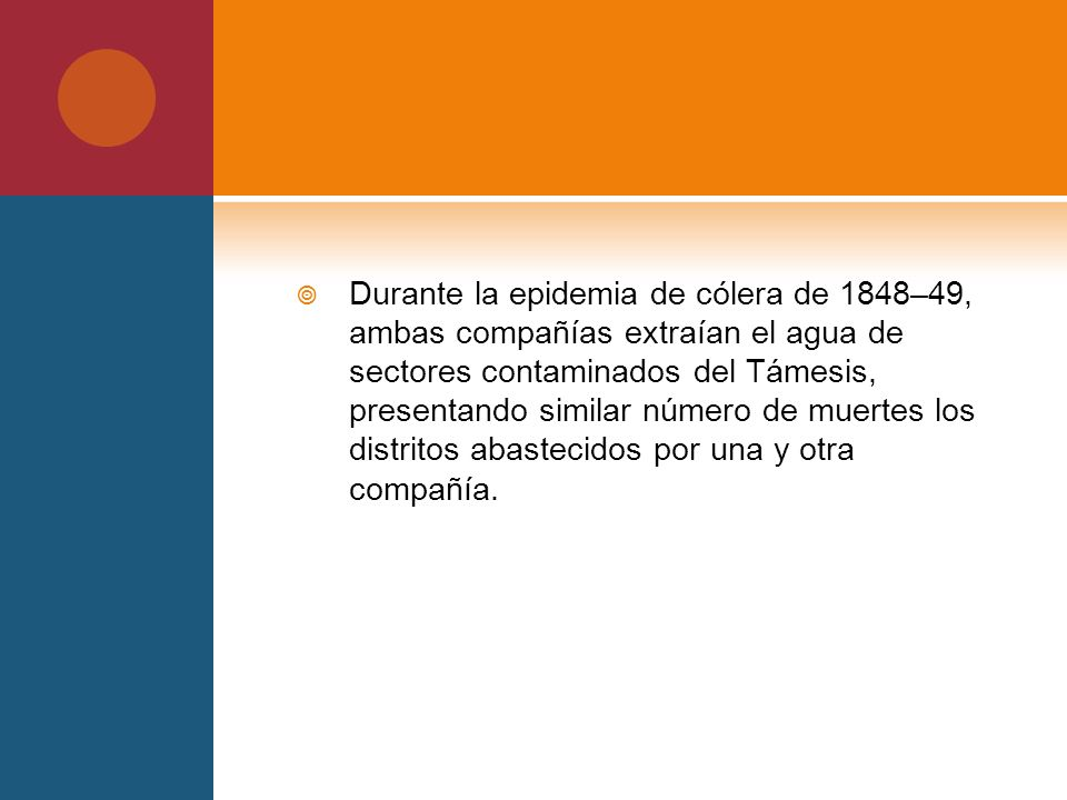 Durante la epidemia de cólera de 1848–49, ambas compañías extraían el agua de sectores contaminados del Támesis, presentando similar número de muertes los distritos abastecidos por una y otra compañía.