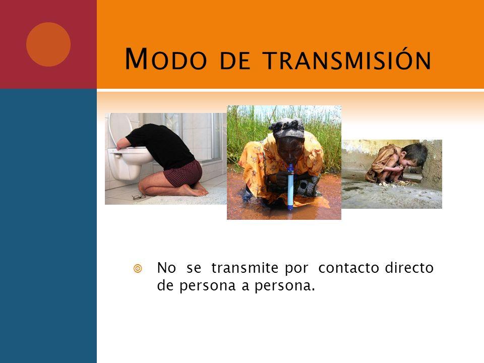Modo de transmisión No se transmite por contacto directo de persona a persona.