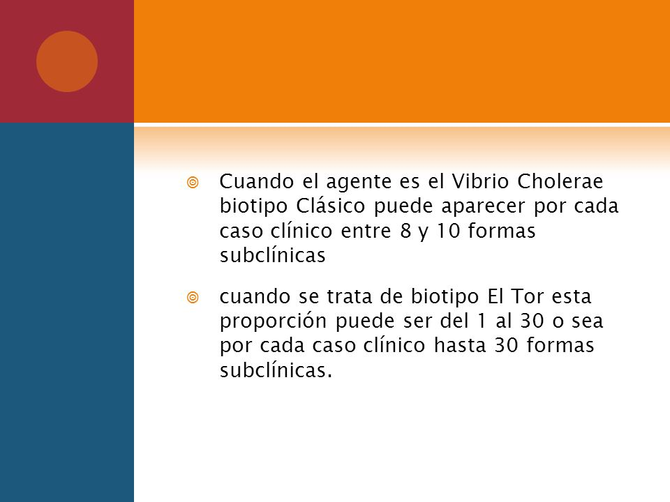 Cuando el agente es el Vibrio Cholerae biotipo Clásico puede aparecer por cada caso clínico entre 8 y 10 formas subclínicas