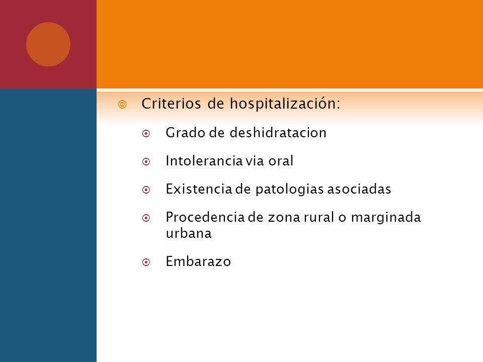 Criterios de hospitalización: