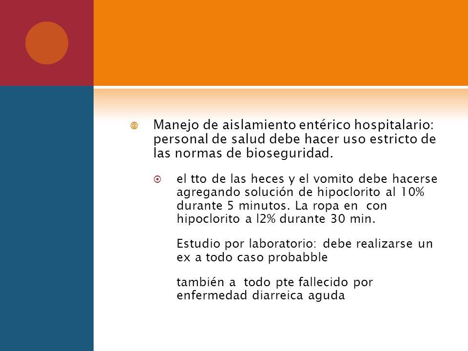 Manejo de aislamiento entérico hospitalario: personal de salud debe hacer uso estricto de las normas de bioseguridad.