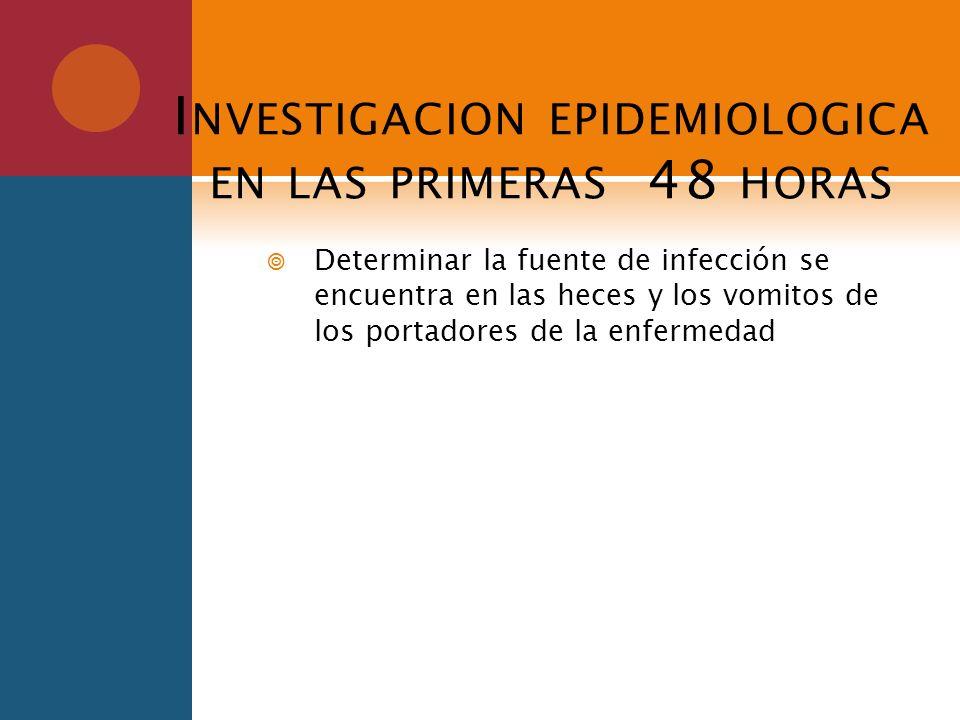 Investigacion epidemiologica en las primeras 48 horas