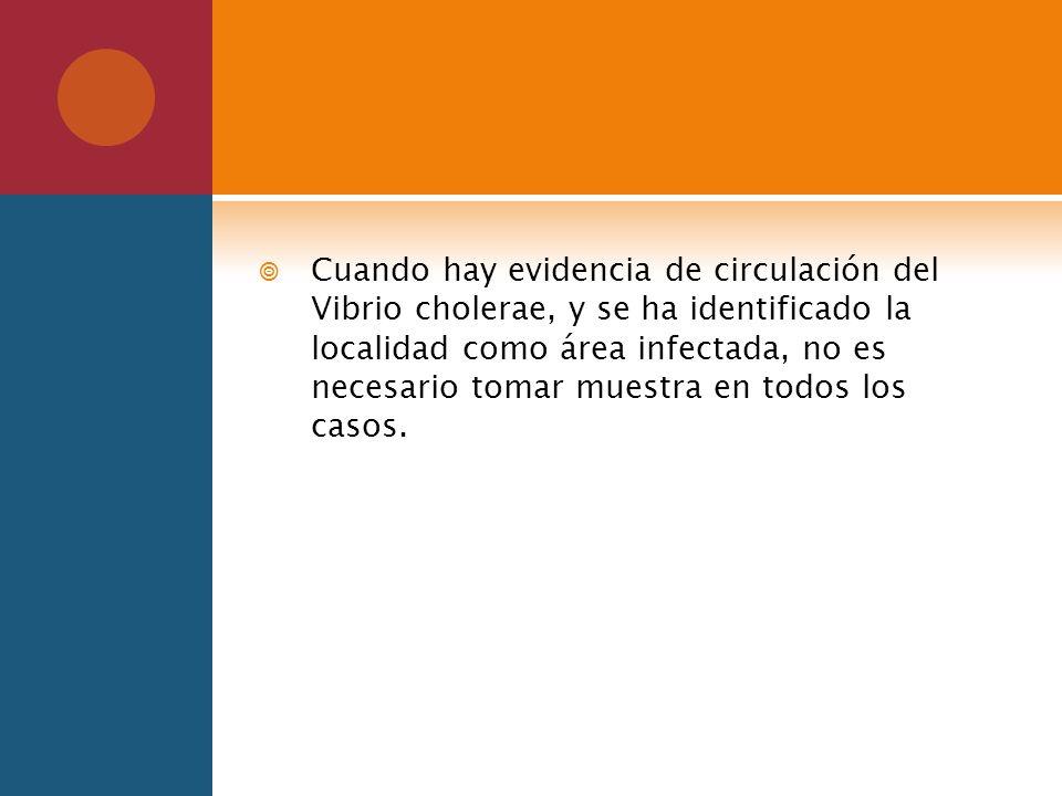 Cuando hay evidencia de circulación del Vibrio cholerae, y se ha identificado la localidad como área infectada, no es necesario tomar muestra en todos los casos.