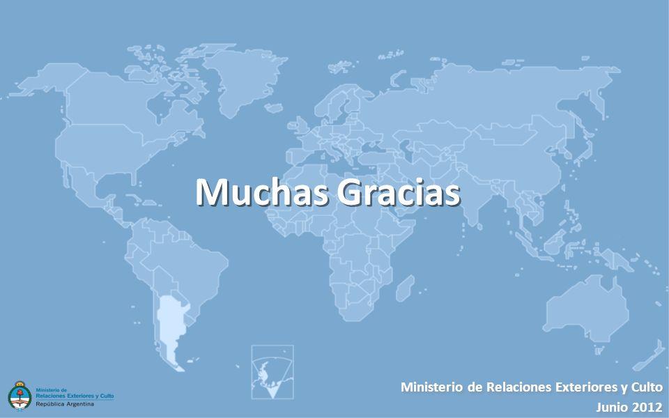 Muchas Gracias Ministerio de Relaciones Exteriores y Culto Junio 2012