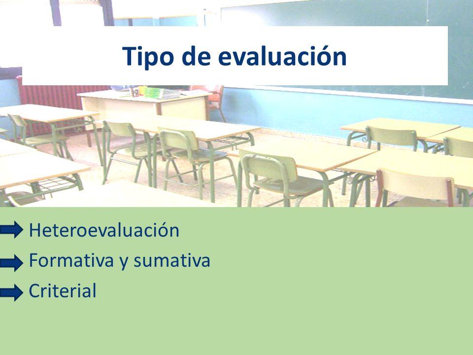 Tipo de evaluación Heteroevaluación Formativa y sumativa Criterial