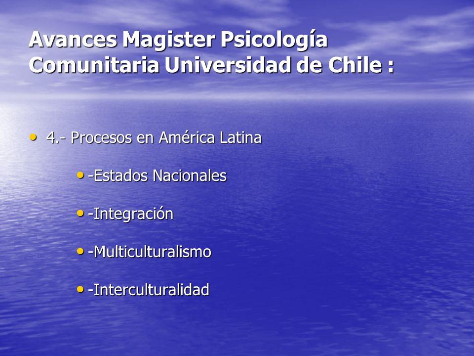 Avances Magister Psicología Comunitaria Universidad de Chile :