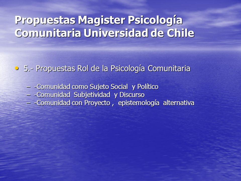 Propuestas Magister Psicología Comunitaria Universidad de Chile