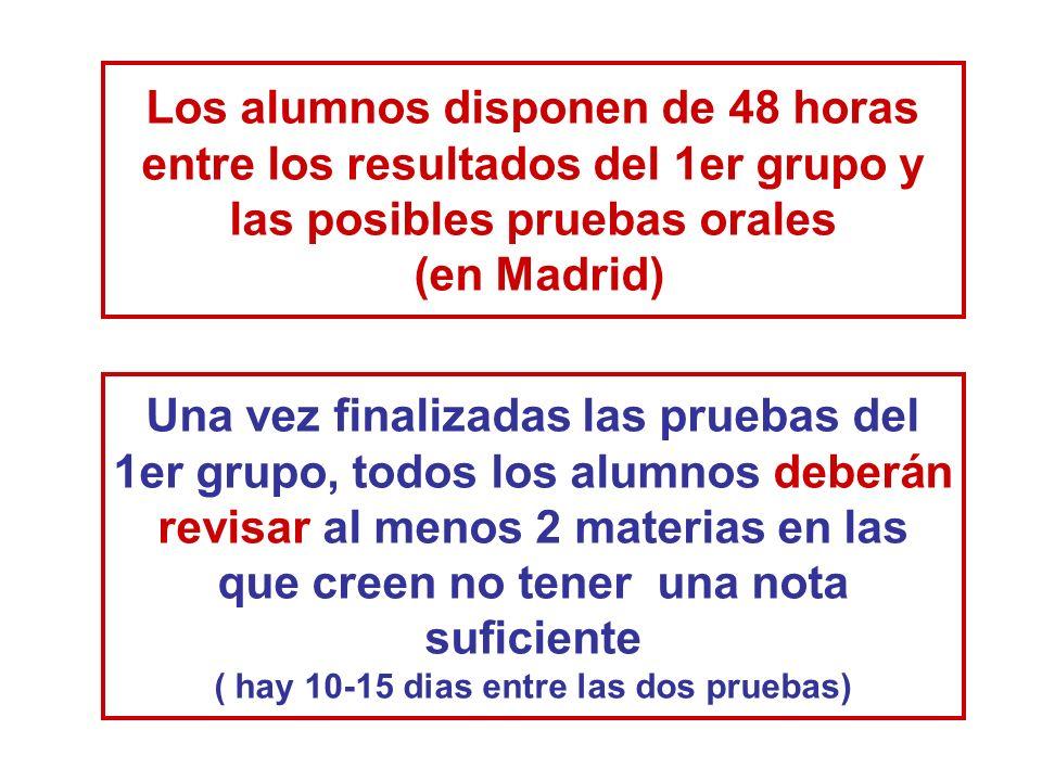Los alumnos disponen de 48 horas entre los resultados del 1er grupo y las posibles pruebas orales (en Madrid)
