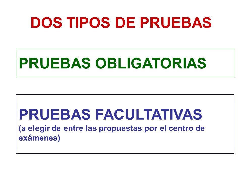 DOS TIPOS DE PRUEBAS PRUEBAS OBLIGATORIAS.