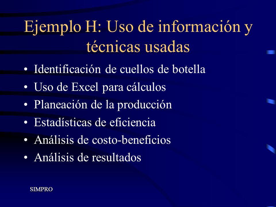 Ejemplo H: Uso de información y técnicas usadas