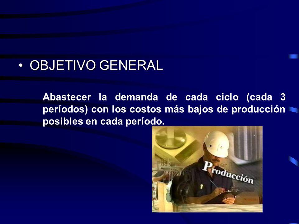 OBJETIVO GENERAL Abastecer la demanda de cada ciclo (cada 3 períodos) con los costos más bajos de producción posibles en cada período.