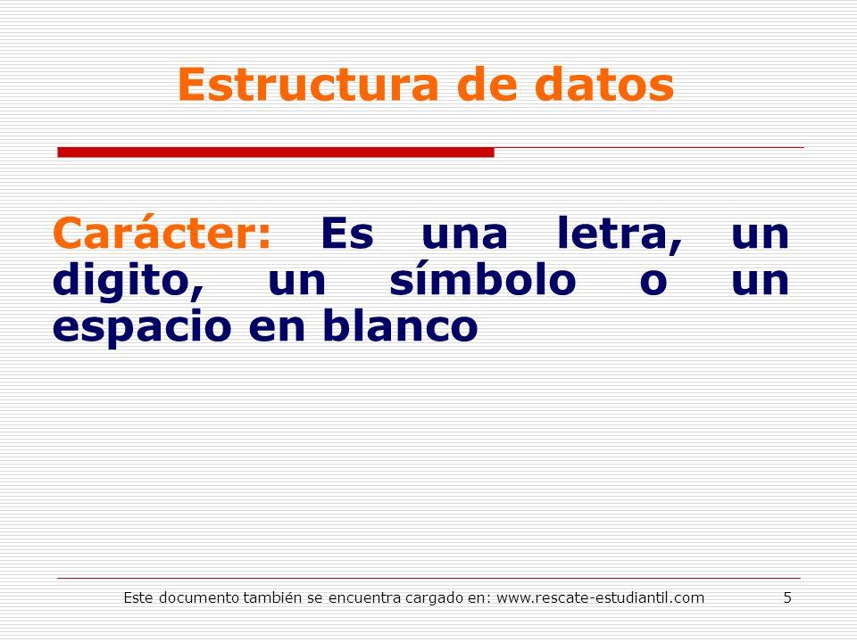 Estructura de datos Carácter: Es una letra, un digito, un símbolo o un espacio en blanco.