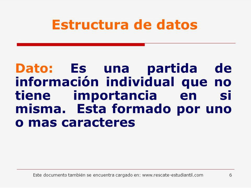Estructura de datos Dato: Es una partida de información individual que no tiene importancia en si misma. Esta formado por uno o mas caracteres.