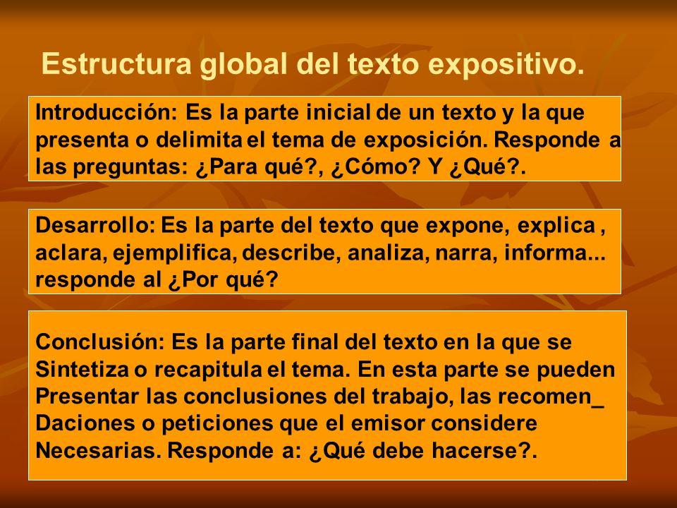 Estructura global del texto expositivo.