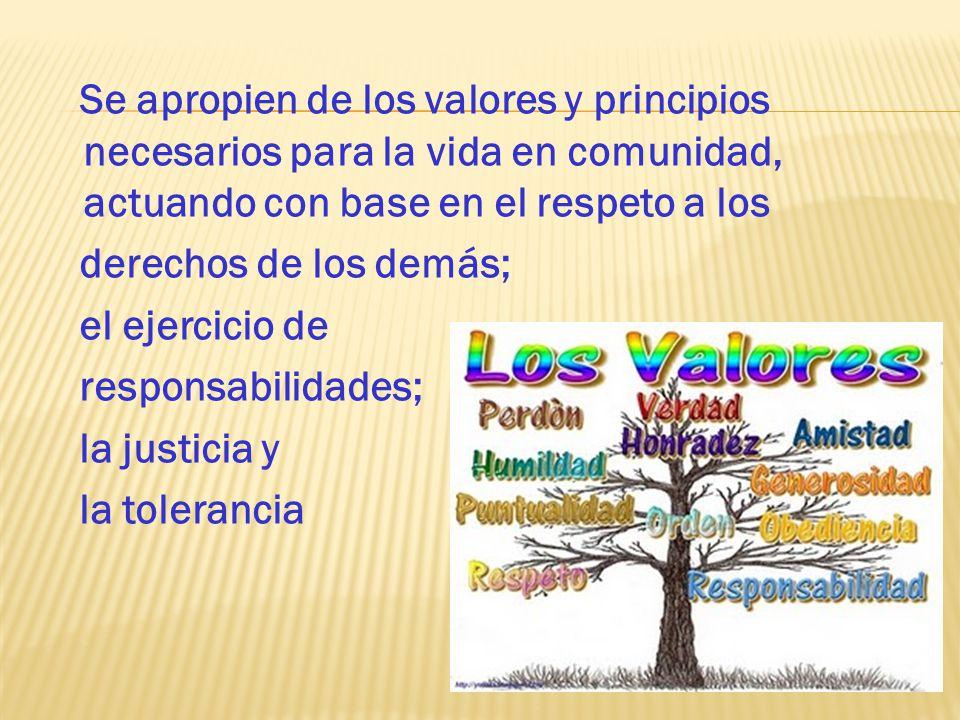 Se apropien de los valores y principios necesarios para la vida en comunidad, actuando con base en el respeto a los derechos de los demás; el ejercicio de responsabilidades; la justicia y la tolerancia