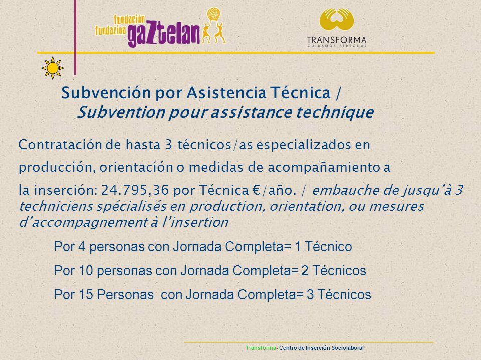 Subvención por Asistencia Técnica /