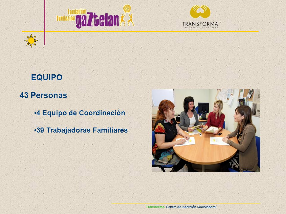 EQUIPO 43 Personas 4 Equipo de Coordinación 39 Trabajadoras Familiares