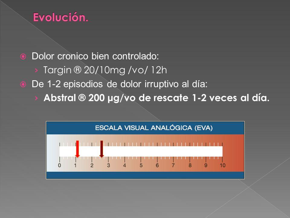 Evolución. Dolor cronico bien controlado: Targin ® 20/10mg /vo/ 12h