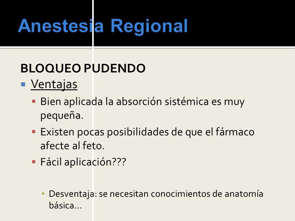 Anestesia Regional BLOQUEO PUDENDO Ventajas